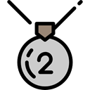 second, Prize, Silver Medal, sports, Sports And Competition, medal Black icon