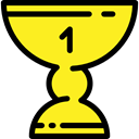 cup, award, Sports And Competition, trophy, winner, Champion Yellow icon