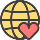 donation, worldwide, Earth Grid, Heart, Solidarity, internet, Charity, help, Maps And Location DarkSlateGray icon