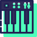 musical instrument, music, classical, piano, Orchestra, Music And Multimedia, Keys Turquoise icon