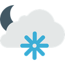 meteorology, snowing, Stars, nature, Moon, Snow, weather, Clouds, night Gainsboro icon