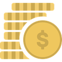 Money, Business, Currency, Dollar, coin, Cash, Coins, Commerce And Shopping DarkKhaki icon