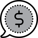 Business, Dollar Symbol, Business And Finance, buying, speech bubble, Money DarkGray icon