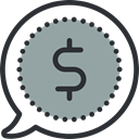 speech bubble, Money, Business And Finance, Business, Dollar Symbol, buying DarkGray icon