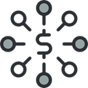 Business, networking, Circles, scheme, network, Business And Finance, Connection, Dollar Symbol Black icon