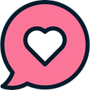 Conversation, love, Favorite, Communications, Chat, Multimedia, Communication, speech bubble LightCoral icon
