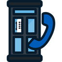 Phone Booth, Communication, Telephone Box, phone call, Communications, technology Black icon
