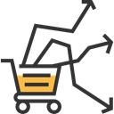 Stats, Market Trends, shopping cart, Commerce And Shopping, graph Black icon