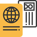 document, technology, travel, Identity, passport, identification SandyBrown icon