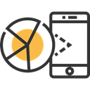 mobile phone, Communications, Business And Finance, Cell phone, Analytics, Pie chart, smartphone Icon