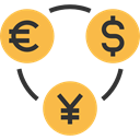 Business And Finance, Business, Euro, Coins, Currency, commerce, Money, Dollar, yen, exchange SandyBrown icon