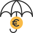 Umbrella, Business And Finance, insurance, Euro, Protection, Money Black icon