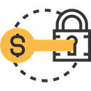 investment, security, Dollar, Business And Finance, Money, Key, padlock Black icon