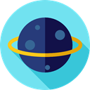 Astronomy, solar system, science, education, planet, saturn SkyBlue icon