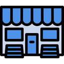Architecture And City, Business, store, food, Shop, commerce CornflowerBlue icon