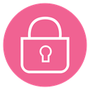 Circle, Content, Lock, style, line PaleVioletRed icon