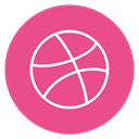 Circle, outline, Dribble, social-media PaleVioletRed icon