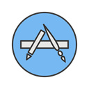 Apple, Apps, Mobile, technology, Appstore, Application, Company SkyBlue icon