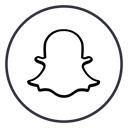 Social, neon, Chat, line, Circles, Snapchat, snap Black icon