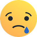 reaction, Emoji, sad, Emoticon, tear SandyBrown icon
