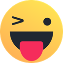 happy, reaction, tongue, smiley, wink, Emoticon SandyBrown icon