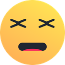 reaction, Emoticon, Dead, Face, tired, Emoji SandyBrown icon