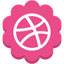 media, round, Flower, Social, Dribble PaleVioletRed icon