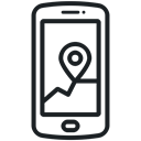 phone icon, Gps, location, Map, Application, navigation, Communication Black icon