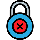 wrong, locked, secure, security, padlock, Lock, Tools And Utensils Black icon