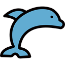 Sea Life, Animals, Aquatic, Aquarium, Animal, dolphin Black icon