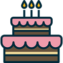 Dessert, Food And Restaurant, birthday, cake, food, Birthday Cake, Celebration, Bakery MidnightBlue icon