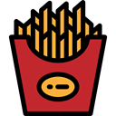Fast food, food, Potatoes, junk food, Restaurant, french fries Black icon