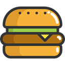 Burger, sandwich, Food And Restaurant, hamburger, food, Fast food, junk food Goldenrod icon