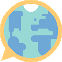 Earth Globe, education, speech bubble, Language, Speech Balloon CornflowerBlue icon
