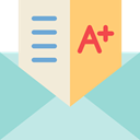 education, interface, envelope, exam, mark, Grades LightBlue icon