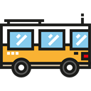 Bus, school bus, transport, Front View, Public transport, transportation Black icon
