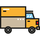 Lorry, Cargo Truck, truck, Automobile, transportation, transport, Delivery Truck Black icon