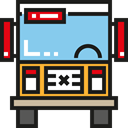 Bus, Front View, transport, transportation, Public transport, school bus SkyBlue icon