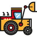 Construction, transportation, Bulldozer, transport, Excavator Black icon