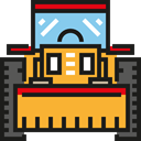 Bulldozer, transport, transportation, Excavator, Construction Goldenrod icon
