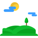 hills, trees, mountain, nature, Sunny, landscape Black icon