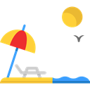 vacations, Holidays, Sun Umbrella, Sunbed, summer, Beach Black icon