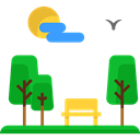 urban, Bench, trees, Seat, Comfortable, nature, Park Black icon