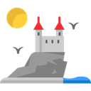 Constructions, medieval, Castles, Architecture And City, landscape, Castle, fortress, Fantasy, Monuments Black icon