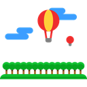 hot air balloon, flight, transport, transportation Black icon