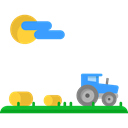 field, nature, Fields, hills, Country, landscape, house, Farm, tractor, rural Black icon