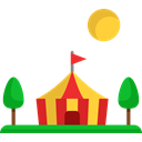 Circus, leisure, Entertaining, Tent, entertainment Black icon