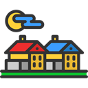 village, rural, Camping, buildings, traditional, Art, Architecture And City, garden DarkSlateGray icon