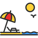 Beach, Holidays, vacations, Sun Umbrella, Sunbed, summer Black icon