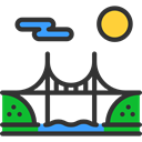 river, buildings, Construction, bridge, Architectonic, engineering, Architecture And City DarkSlateGray icon